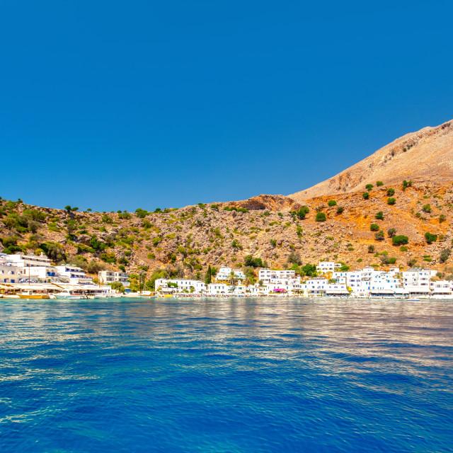 """Greek village of Loutro, Chania, Crete, Greece."" stock image"