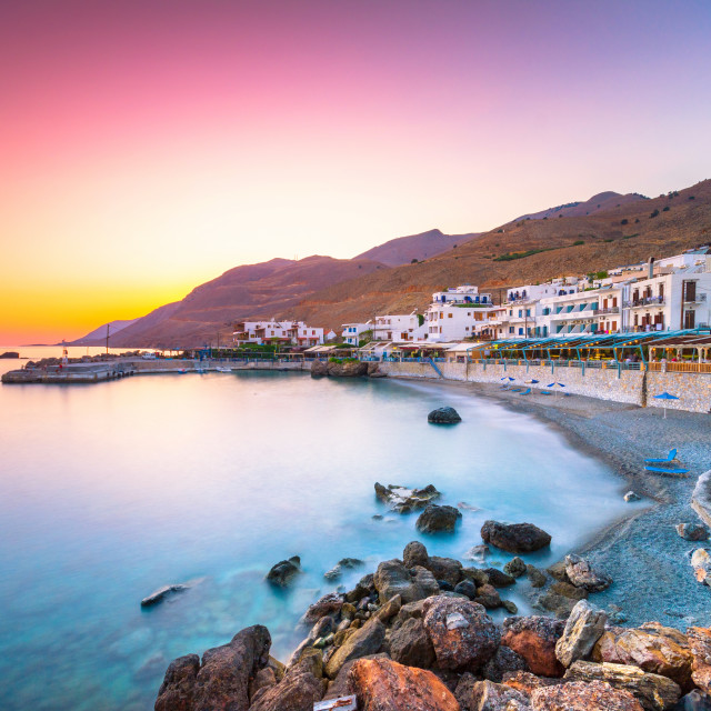 """The small traditional village of Chora Sfakion, Sfakia, Chania, Crete, Greece."" stock image"