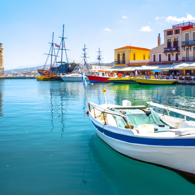 """Rethymno city at Crete island in Greece. The old venetian harbor."" stock image"