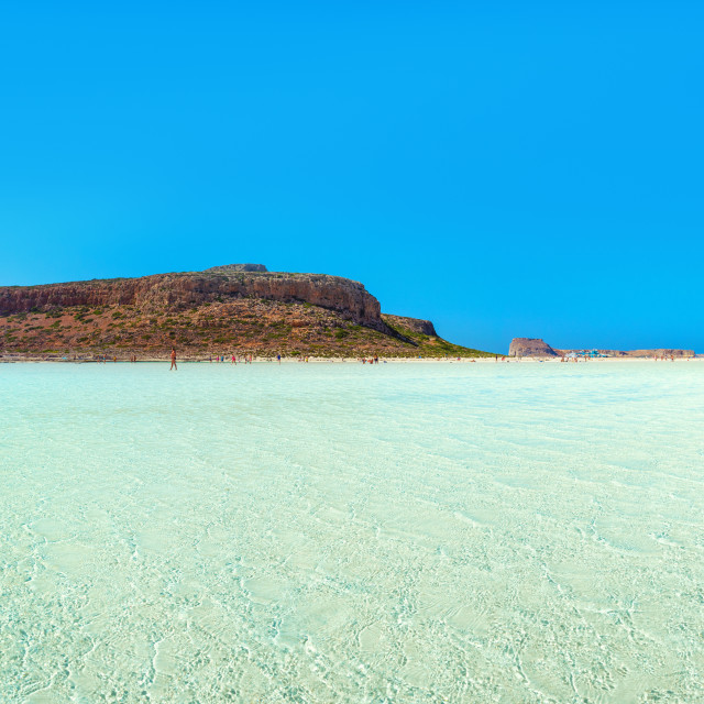 """Amazing view of Balos Lagoon with magical turquoise waters, lagoons, tropical beaches of pure white sand and Gramvousa island on Crete, Greece"" stock image"
