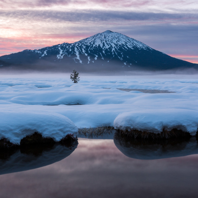 """Mount Bachelor Misty Sunrise"" stock image"