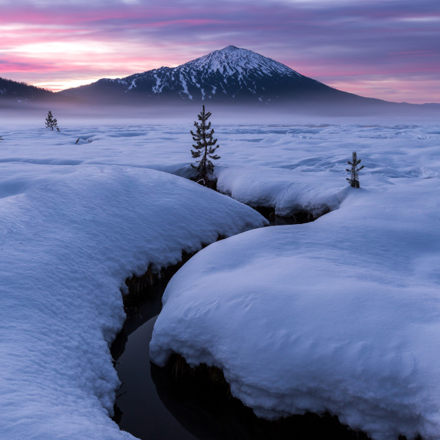 """Mount Bachelor Snowy Sunrise"" stock image"
