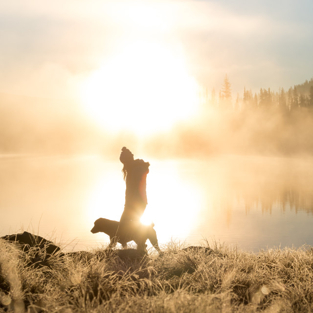 """Woman and Dog Walk on Misty Shore"" stock image"