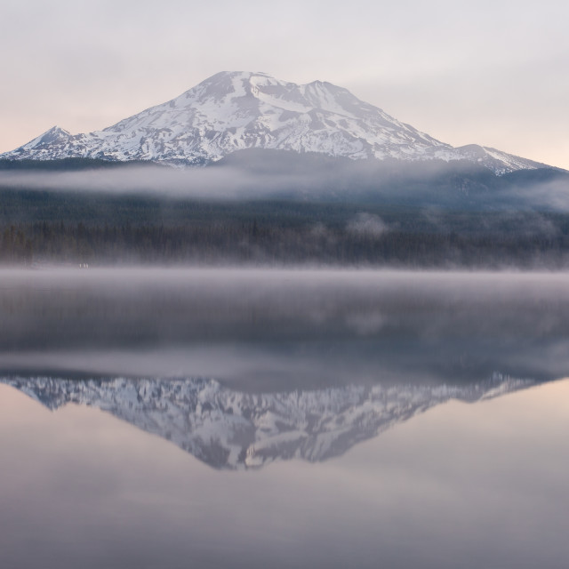 """South Sister Misty Mountain Reflection"" stock image"