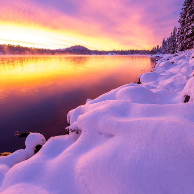 """Vibrant Snowy Sunrise"" stock image"