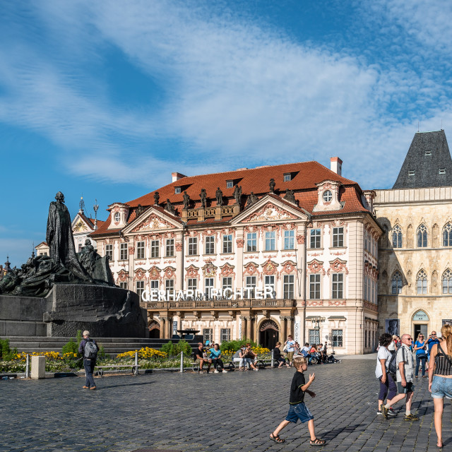 """The Jan Hus Memorial in the of Old Town Square of Prague"" stock image"