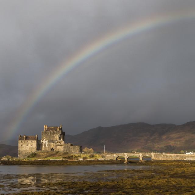 """Rainbow Over Eilean Donan"" stock image"