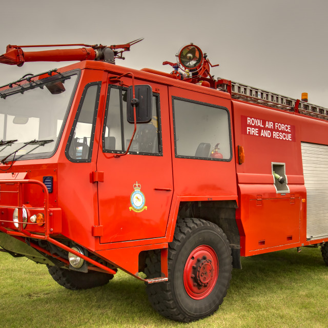"""""""RAF fire and rescue vehicle (Tonemapped)"""" stock image"""