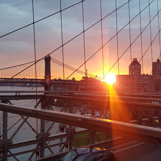 """Brooklyn bridge, sun rise"" stock image"
