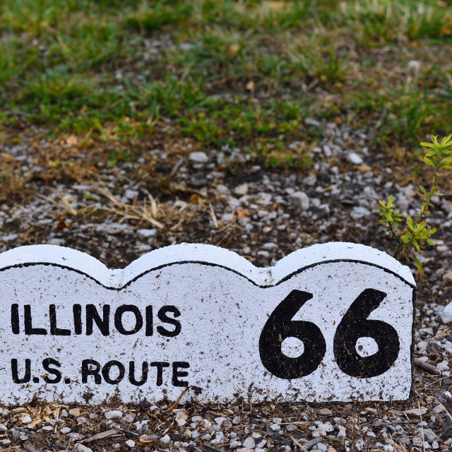 """Historic Route 66 sign in Illinois."" stock image"
