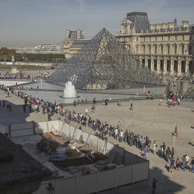 """People waiting in line for entrance Louvre, Paris"" stock image"