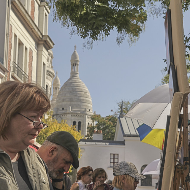 """Montmartre artists and tourists"" stock image"