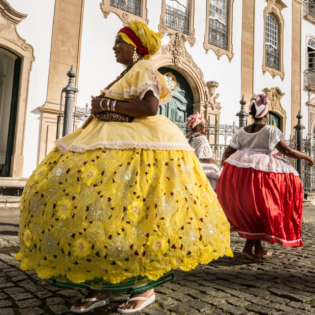 """Group of ""Baianas"" in the famous Pelourinho in Salvador, Bahia, Brazil"" stock image"