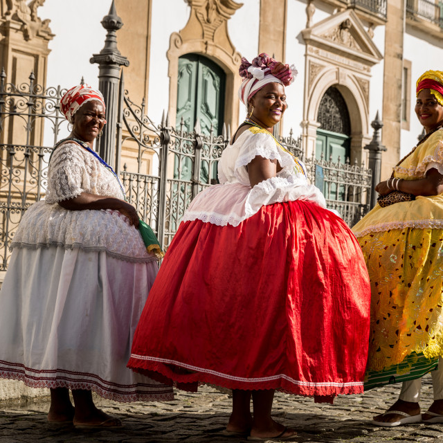 """Group of ""Baianas"" walking in the famous Pelourinho in Salvador, Bahia, Brazil"" stock image"