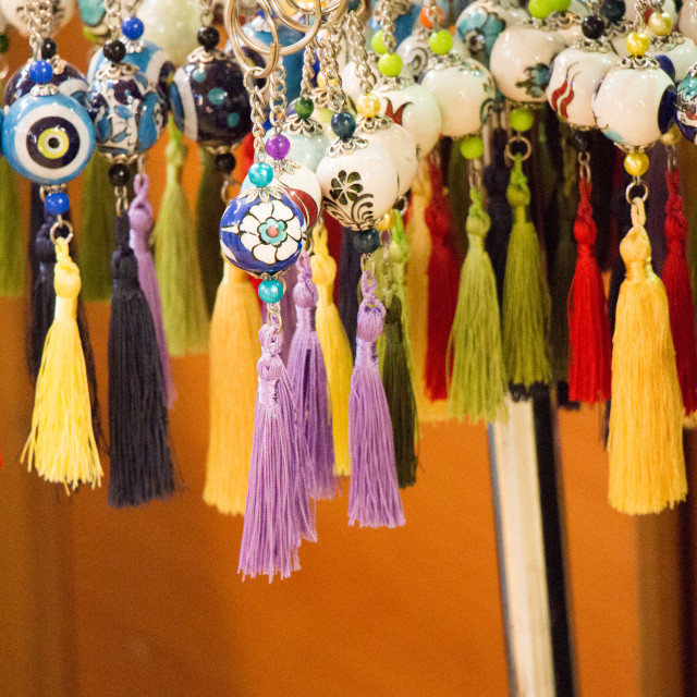 """Selection of curtain tassel in various colors"" stock image"