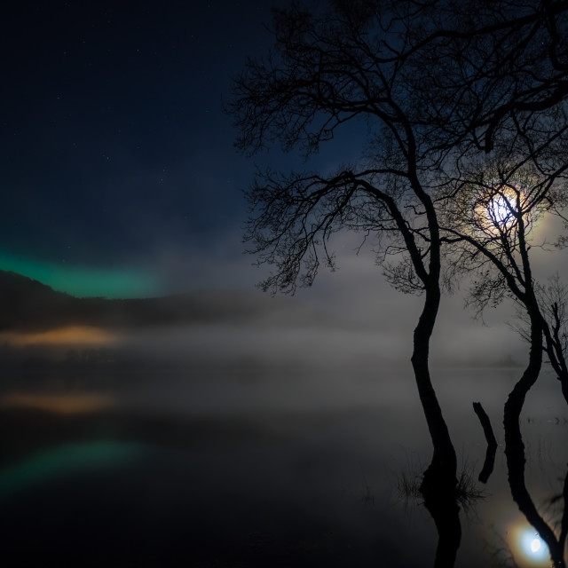 """Aurora Borealis over Loch Achray, The Trossachs"" stock image"