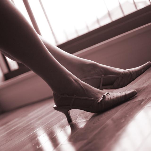 """Elegant lady legs and feet"" stock image"