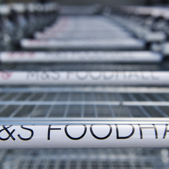 """M&S Foodhall Trolley's"" stock image"