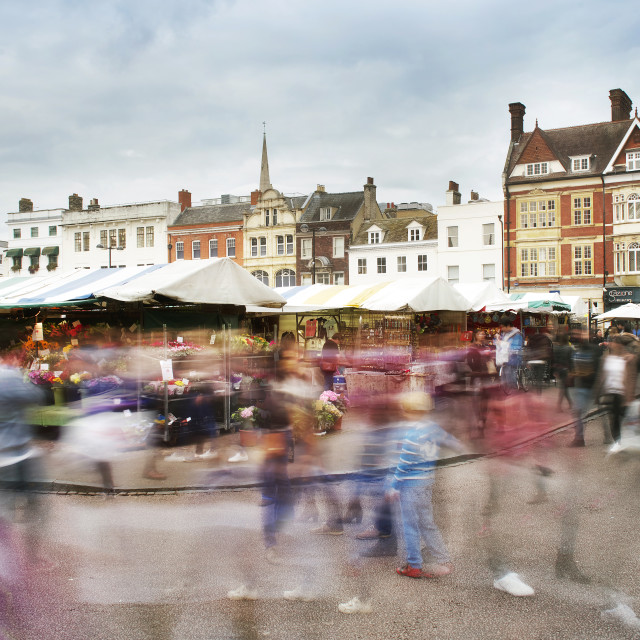 """Hustle and Bustle of Market Square, Cambridge"" stock image"