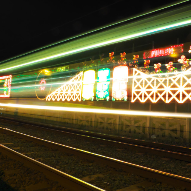 """Moving tram at the Blackpool illuminations"" stock image"