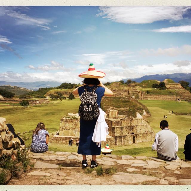 """""""Tourist at Monte Albán, Mexico"""" stock image"""