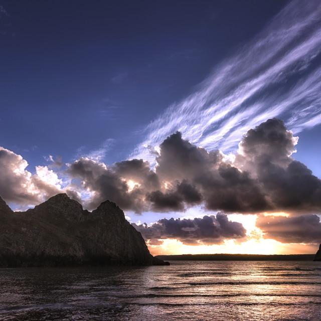 """Dramatic Three Cliffs Bay"" stock image"