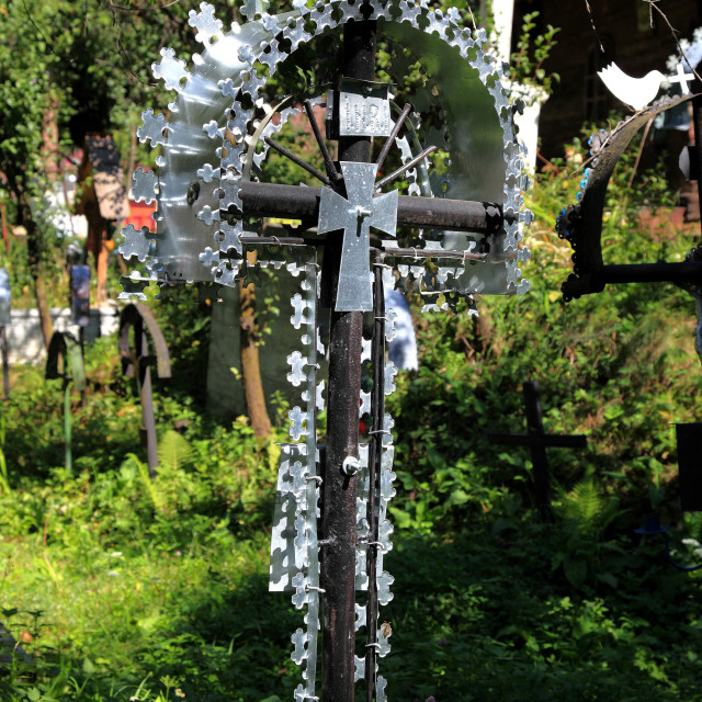 """""""Cemetery Budesti, on the Lower Church (UNESCO World Heritage), the grave of a..."""" stock image"""