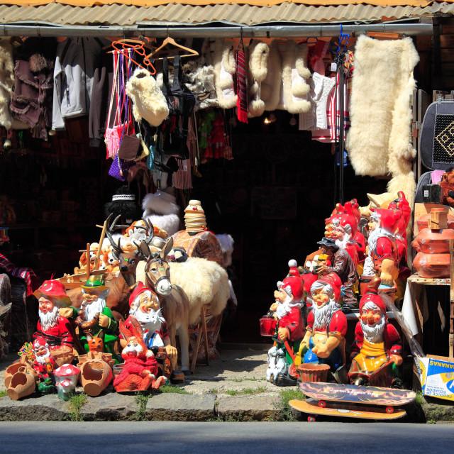 """""""Street kiosk, selling toys, garden gnomes and souvenirs, at Sinaia, Muntenia,..."""" stock image"""