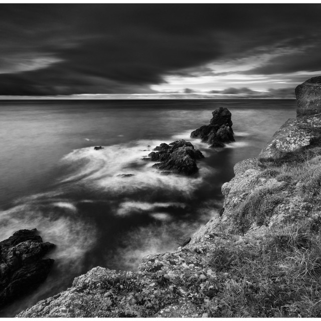 """Mono Version of the Bunmahon Sea Stacks"" stock image"