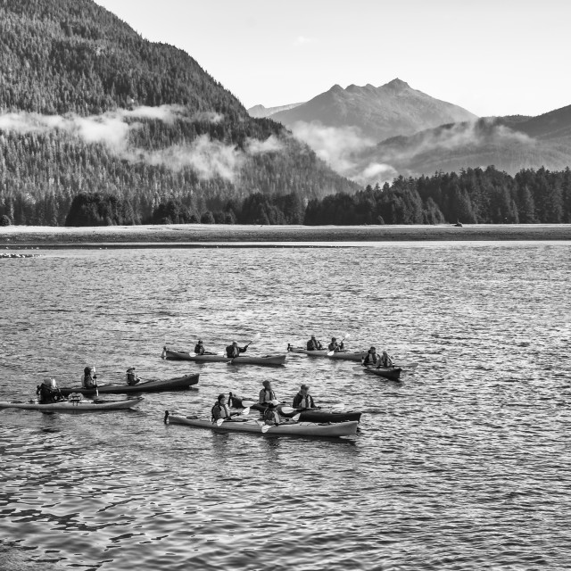 """kayaks group of visitors from cruise ship in Alaska"" stock image"