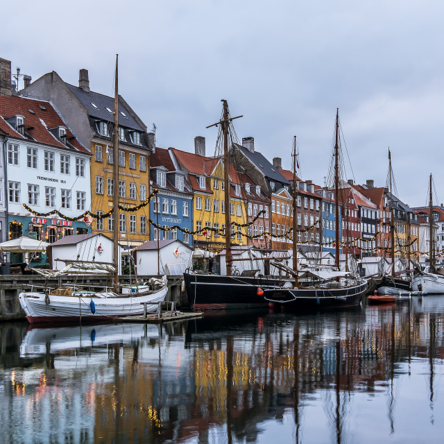 """Christmas decoration at Nyhavn canal Copenahagen"" stock image"