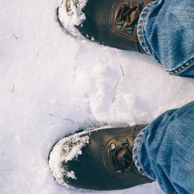 """""""Man's Foots in Snow"""" stock image"""
