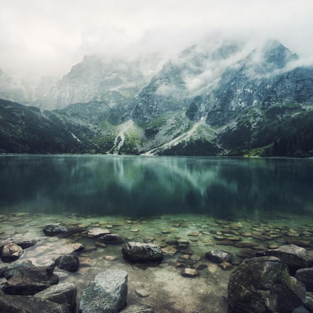 """""""autumn view of Morskie Oko lake, Zakopane in Poland"""" stock image"""