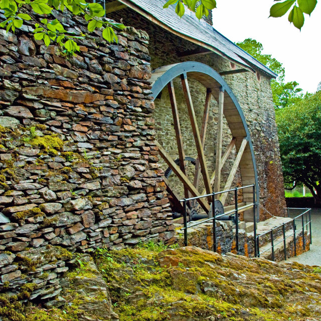 """Waterwheel at Dyfi Furnace"" stock image"