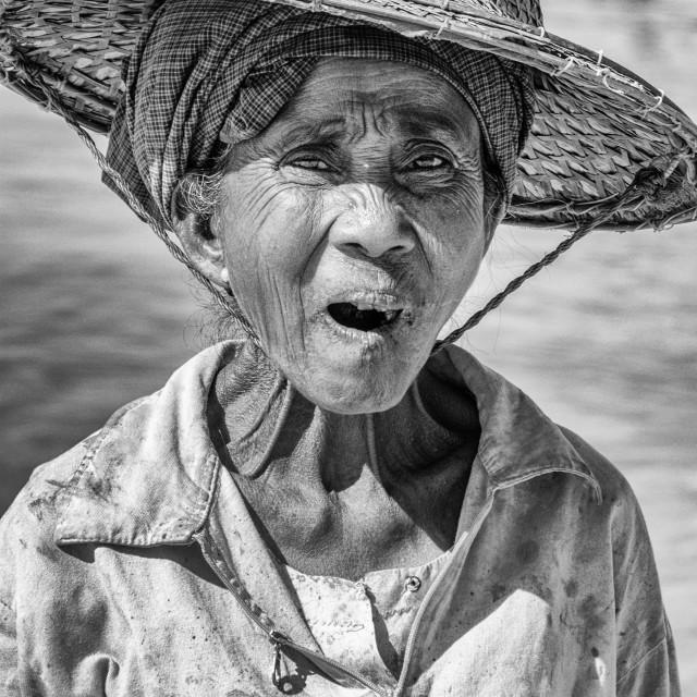 """Burmese old woman eating betel nut"" stock image"