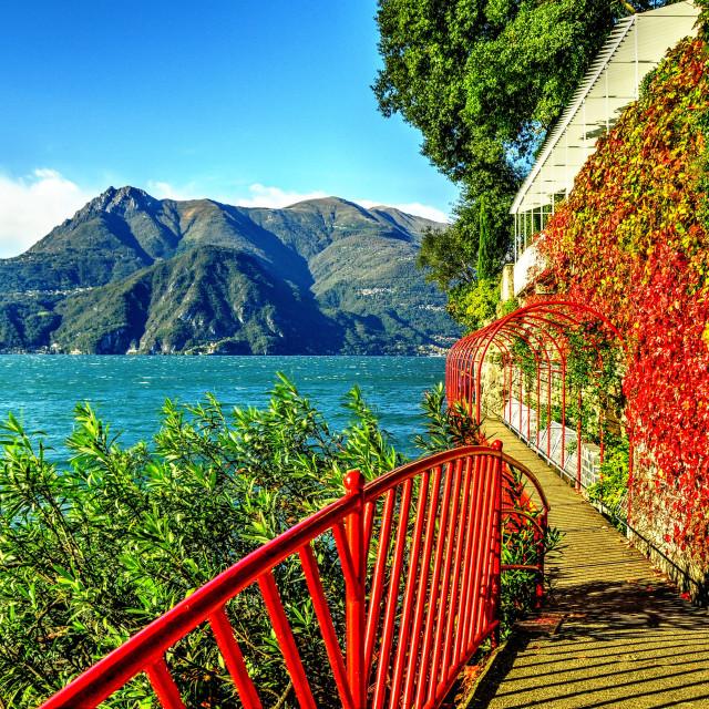 """A walkway on the shore of lake Como"" stock image"