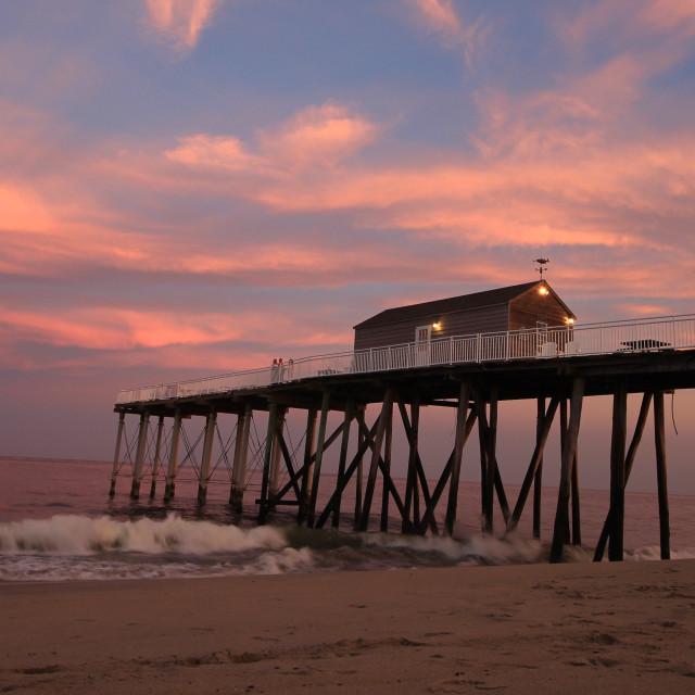 """Sunset at belmar beach NJ"" stock image"