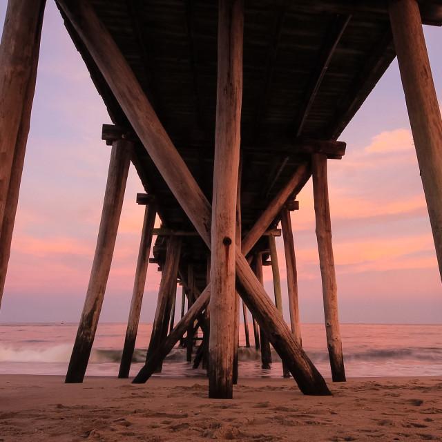 """Shot beneath the pier"" stock image"