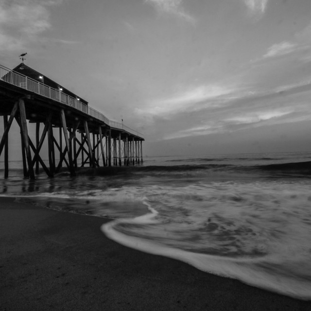 """""""Waves hitting the pier"""" stock image"""