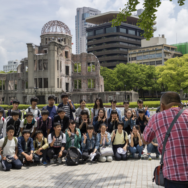 """""""Hiroshima, Japan - May 25, 2017: Group of Students is photographed in Peace..."""" stock image"""