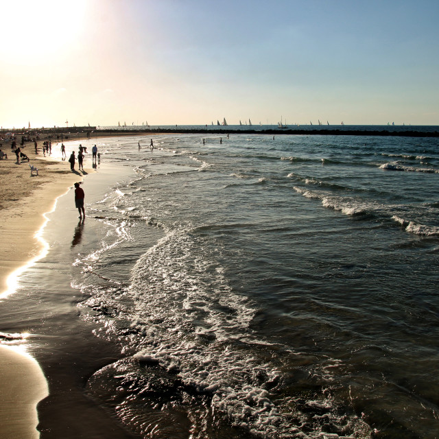"""The beach in Tel Aviv"" stock image"
