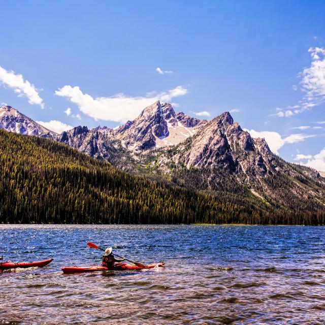 """""""Kayakers on Stanley Lake Idaho"""" stock image"""