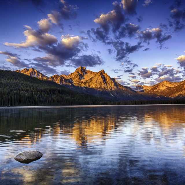 """""""Sunrise on Stanley Lake"""" stock image"""
