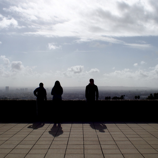 """Tourists overlooking Los Angeles"" stock image"
