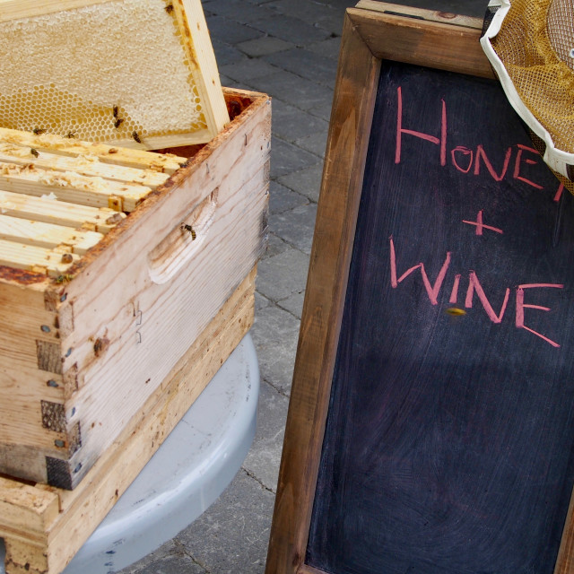 """Honey Bees and chalk sign"" stock image"