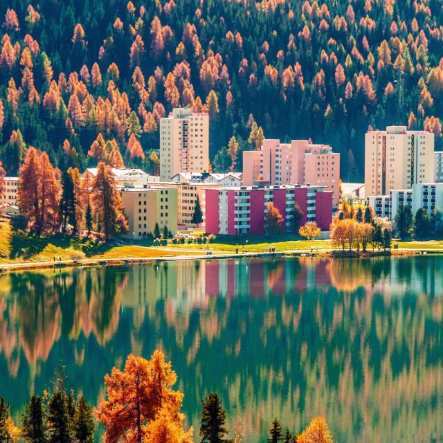"""Reflections in the St. Moritz lake, Switzerland."" stock image"