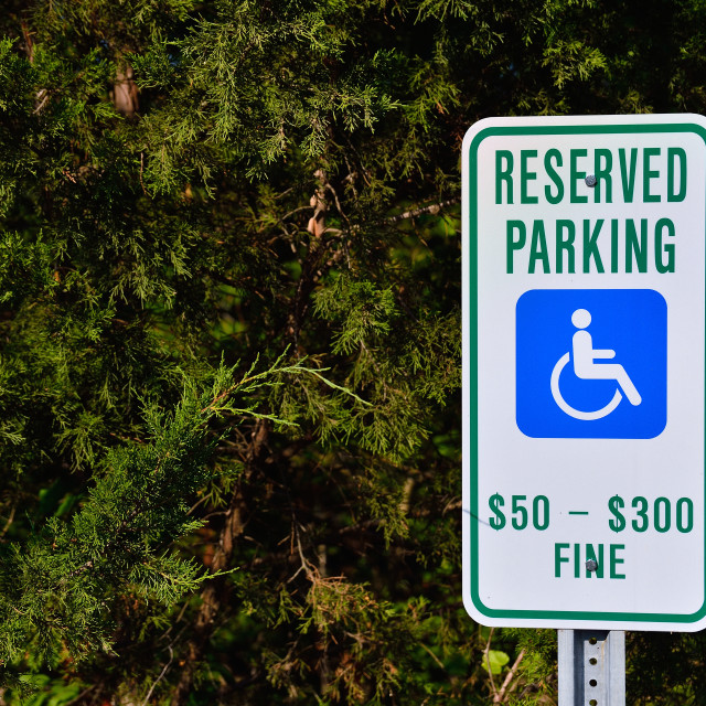 """""""Reserved parking for handicapped only."""" stock image"""