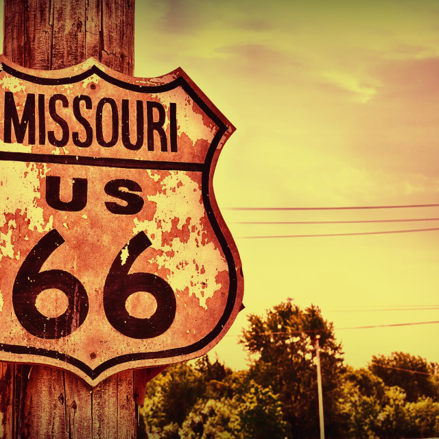 """Historic route 66 sign in Missouri."" stock image"