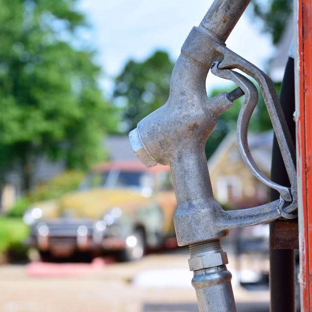 """Old rusty american gas pump."" stock image"