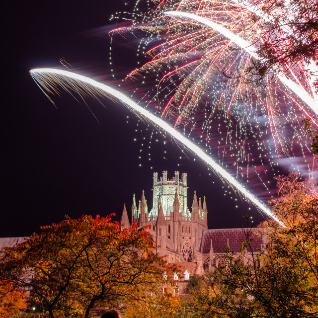 """""""Fireworks over Ely Cathederal"""" stock image"""